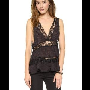 intimately free people Black Lace Trapeze Cami Top